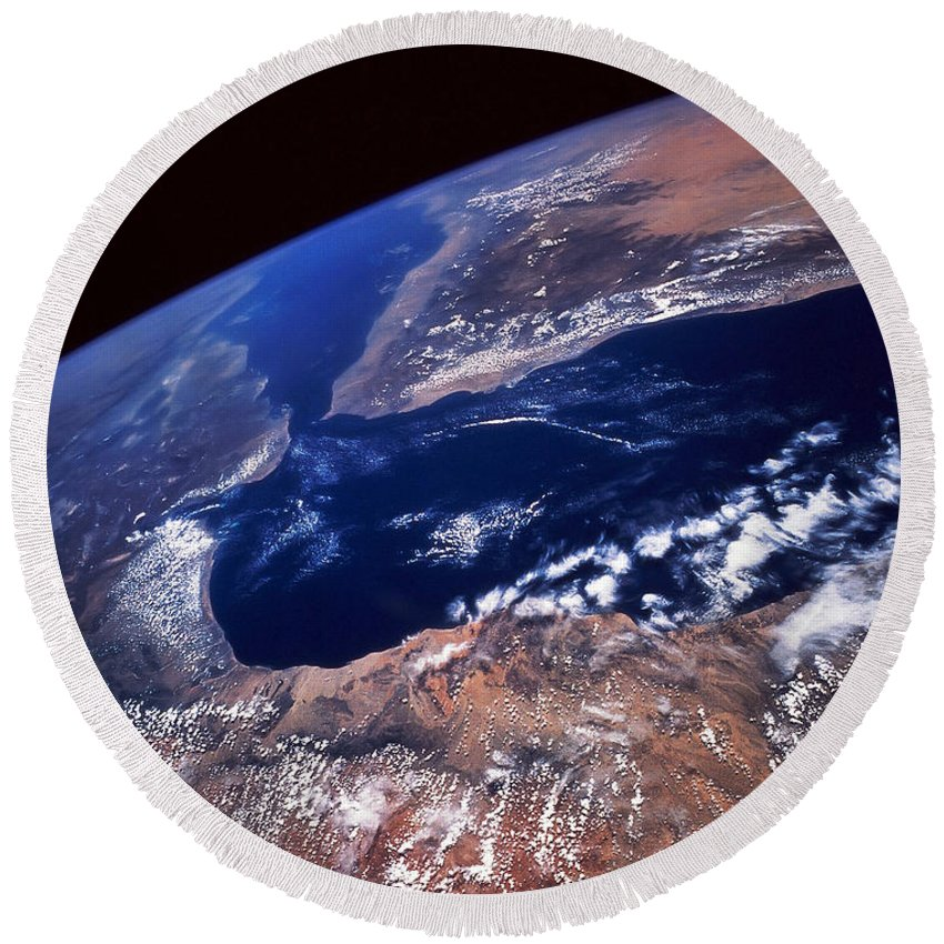 Horizontal Round Beach Towel featuring the photograph Water And Land by Stocktrek Images