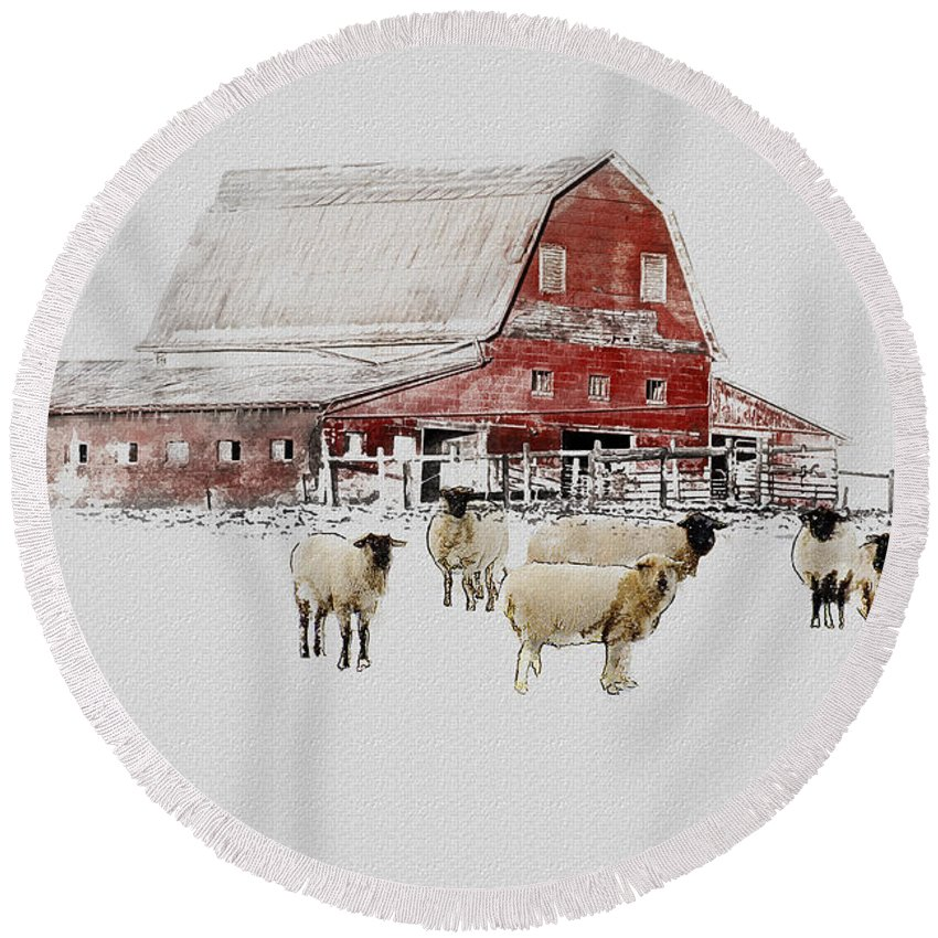 Winter Round Beach Towel featuring the photograph Weatherbury Farm by Ron Jones