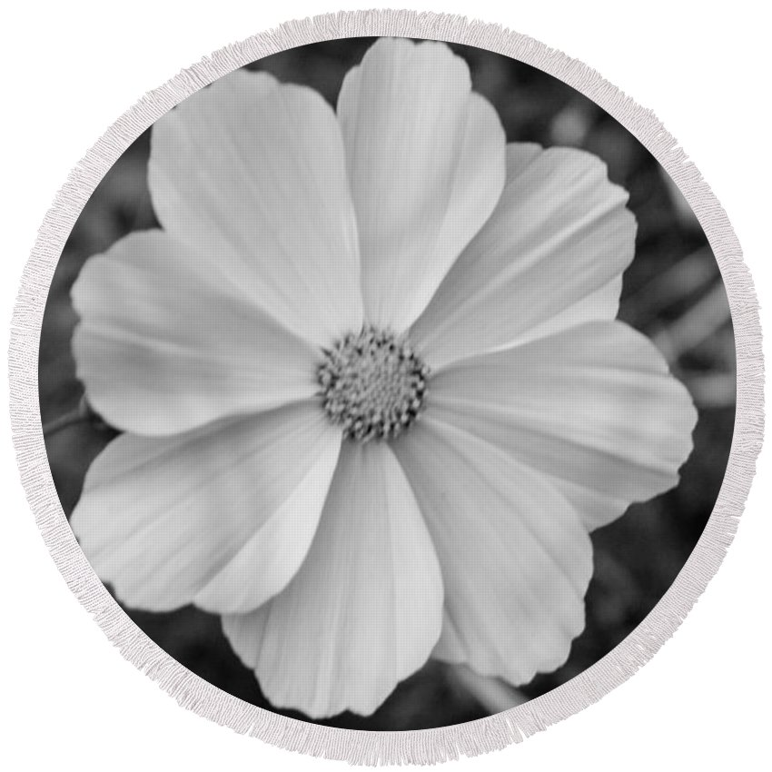Flower Round Beach Towel featuring the photograph White Flower by Rebecca Akporiaye