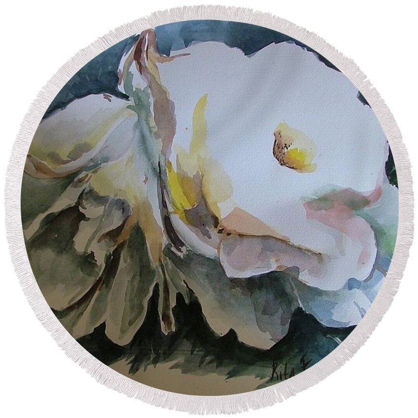 Leaves Round Beach Towel featuring the painting White Flowers by Rita Fetisov