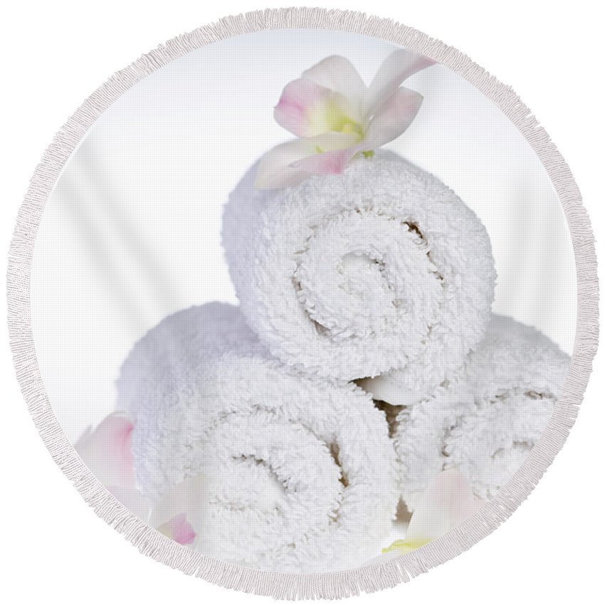 Towels Round Beach Towel featuring the photograph White Spa by Elena Elisseeva