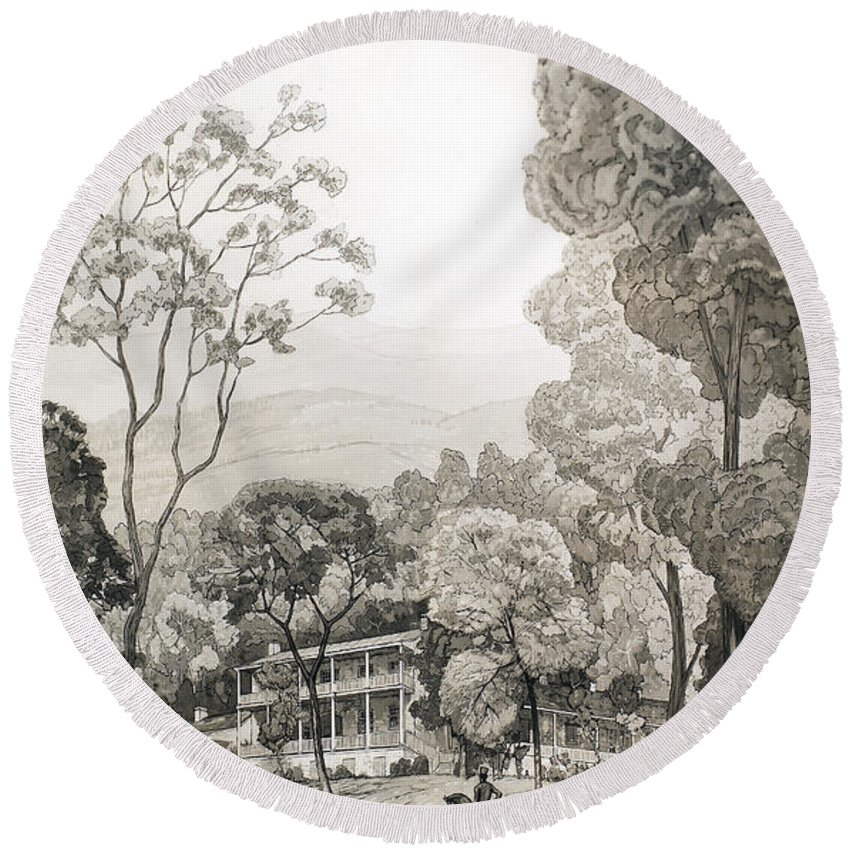 1850 Round Beach Towel featuring the photograph White Sulphur Springs by Granger