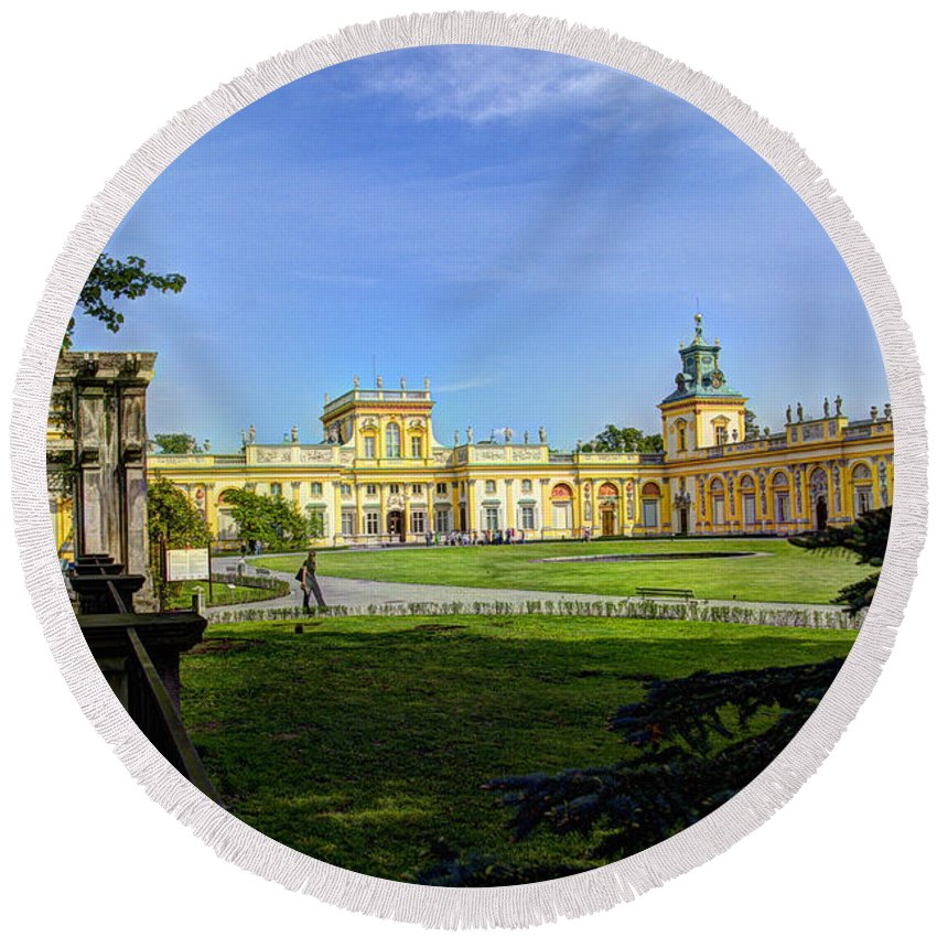 Wilanow Palace Round Beach Towel featuring the photograph Wilanow Palace - Warsaw Poland by Jon Berghoff