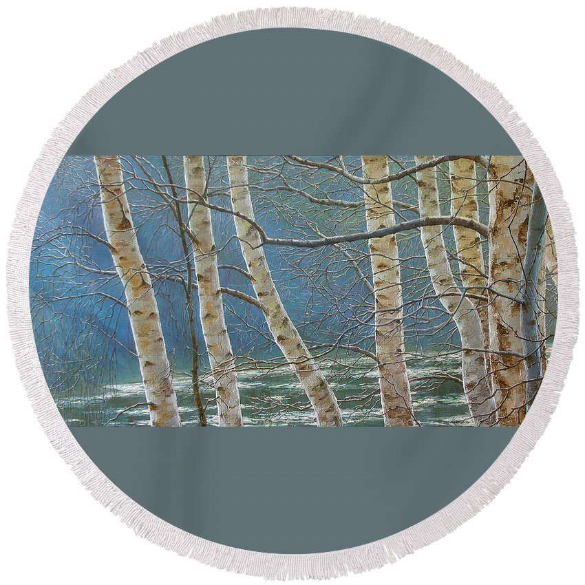 Birches Round Beach Towel featuring the painting Winter Is Over by Olena Lopatina