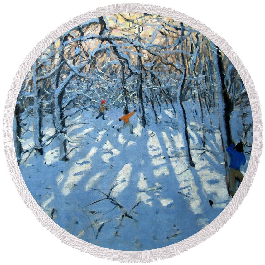 English Landscape Round Beach Towel featuring the painting Winter Woodland Near Newhaven Derbyshire by Andrew Macara