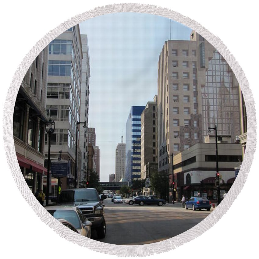 Milwaukee Round Beach Towel featuring the photograph Wisconsin Ave 1 by Anita Burgermeister
