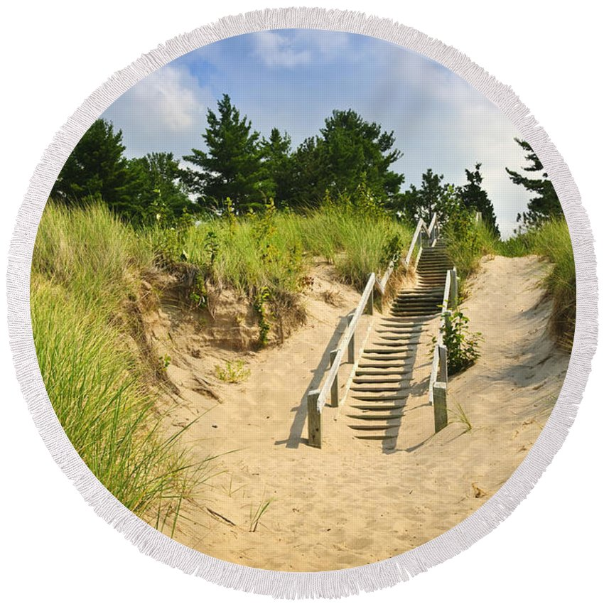 Beach Round Beach Towel featuring the photograph Wooden Stairs Over Dunes At Beach by Elena Elisseeva