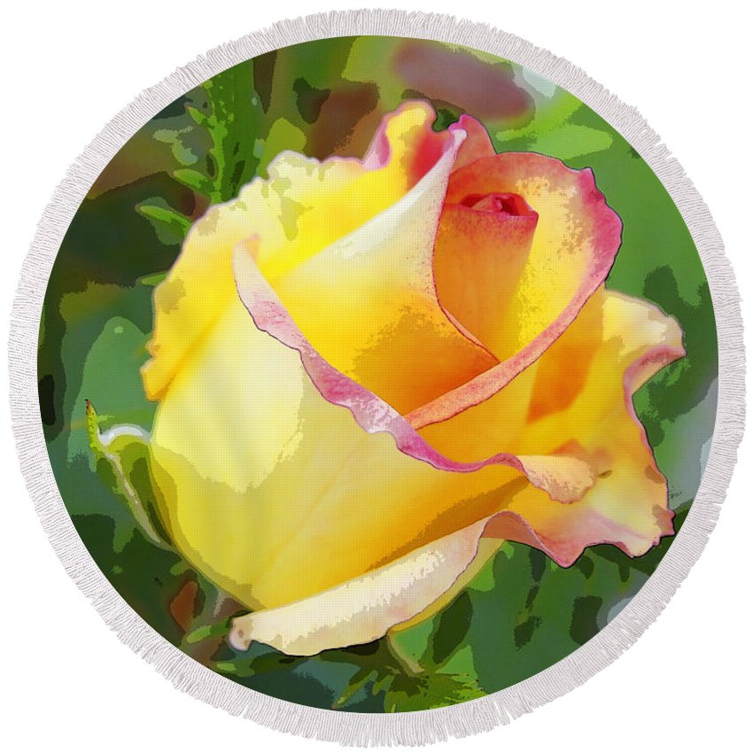 Beauty Round Beach Towel featuring the photograph Yellow Rose by Anne Mott
