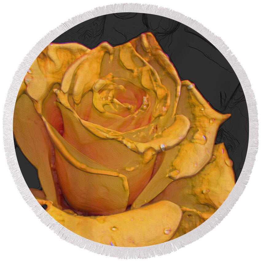 Nature Round Beach Towel featuring the photograph Yellow Rose Art by Debbie Portwood