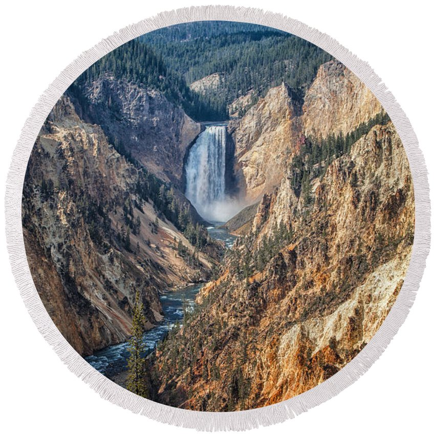 2012 Round Beach Towel featuring the photograph Yellowstone Lower Falls by Ronald Lutz