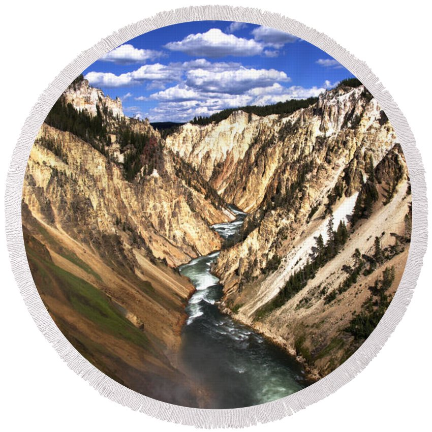 Yellowstone River Lower Falls South Of Canyon Village Yellowstone National Park Wyoming Usa Round Beach Towel featuring the photograph Yellowstone River Below Lower Falls by Paul Cannon