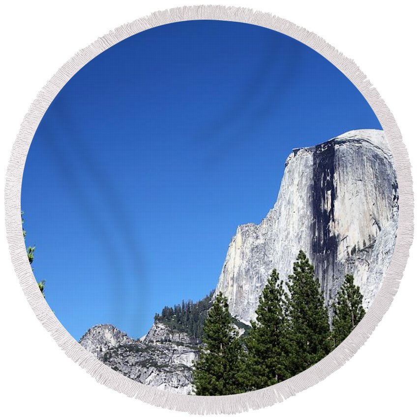 Nature Round Beach Towel featuring the photograph Yosemite Half Dome by Henrik Lehnerer