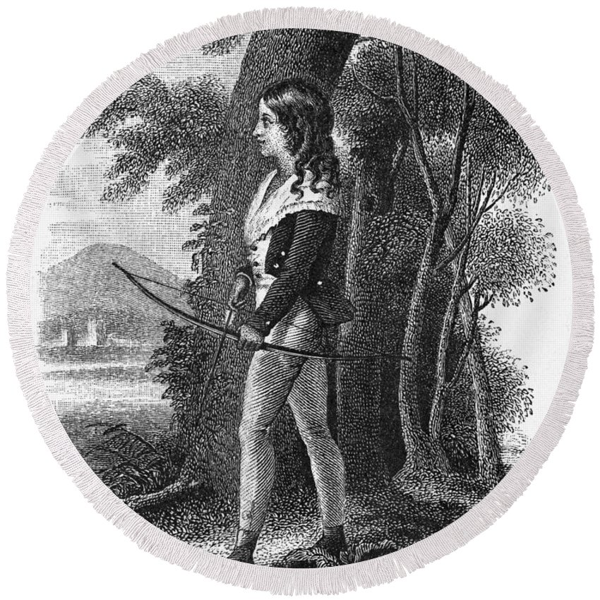 1795 Round Beach Towel featuring the photograph George Gordon Byron by Granger