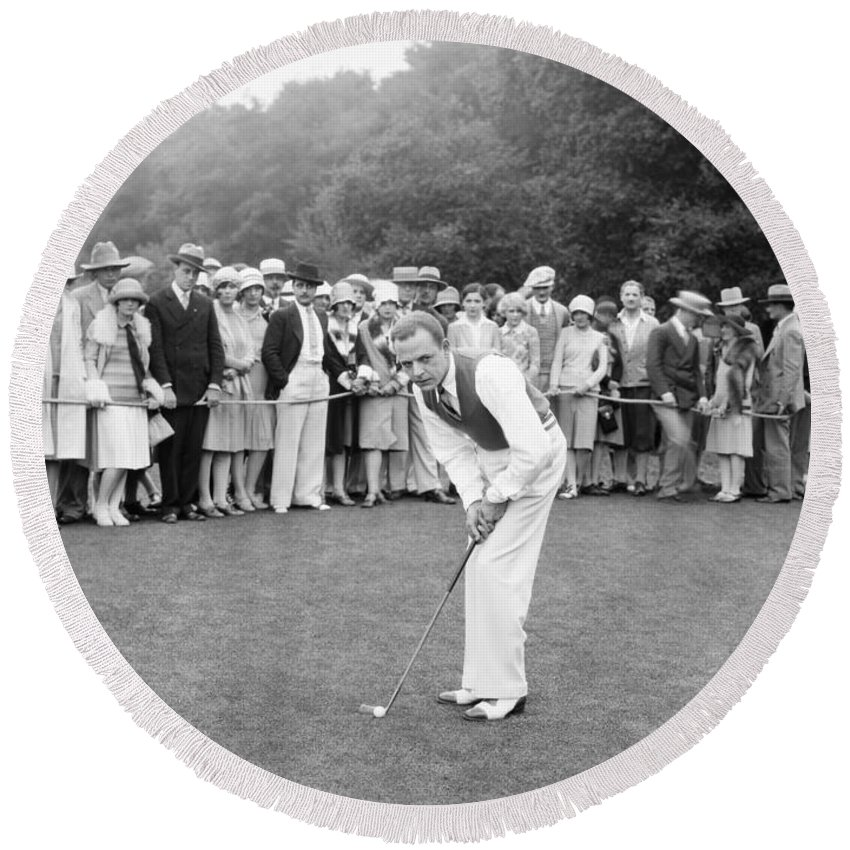 -sports- Round Beach Towel featuring the photograph Silent Film Still: Golf by Granger