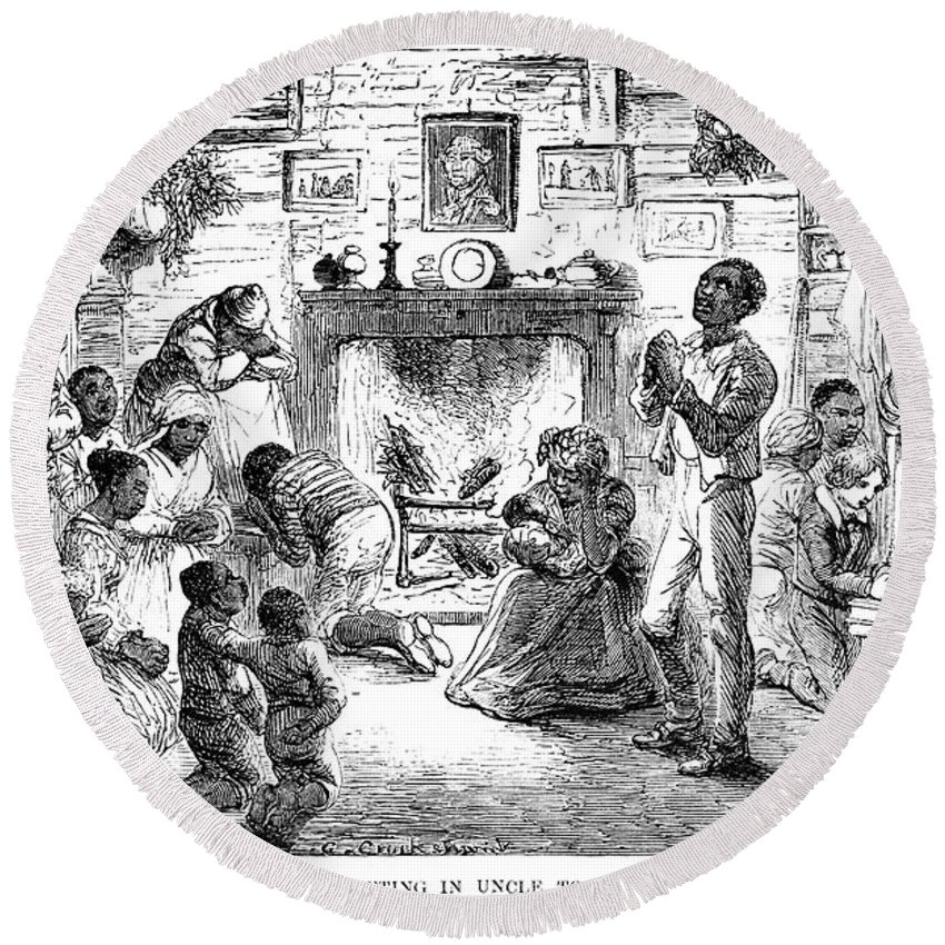 1852 Round Beach Towel featuring the photograph Uncle Toms Cabin by Granger