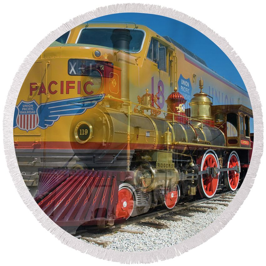 Promontory Point Round Beach Towel featuring the photograph 100 Years Of Union Pacific Railroading by Tim Mulina