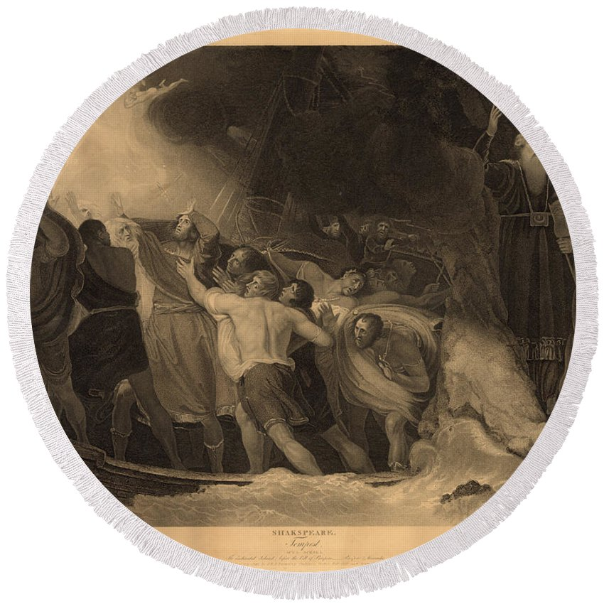 1797 Round Beach Towel featuring the photograph Shakespeare: Tempest by Granger