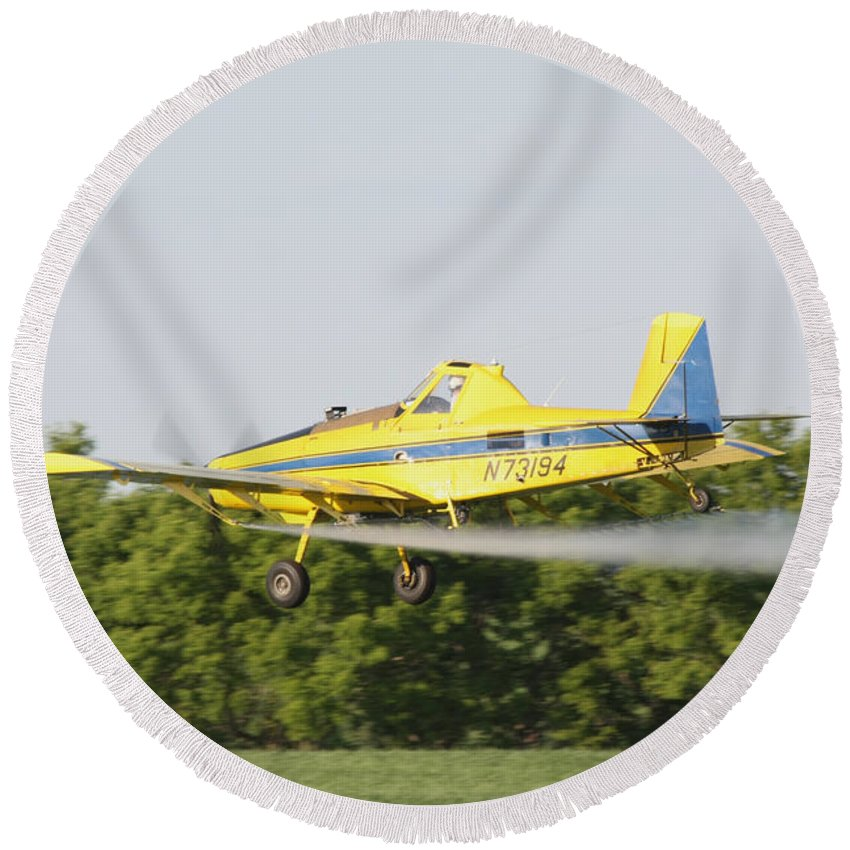 Plane Round Beach Towel featuring the photograph Airplane by Lori Tordsen