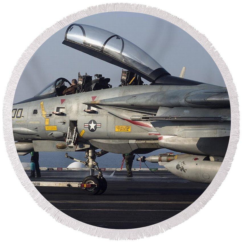 Grumman Round Beach Towel featuring the photograph An F-14d Tomcat On The Flight Deck by Gert Kromhout
