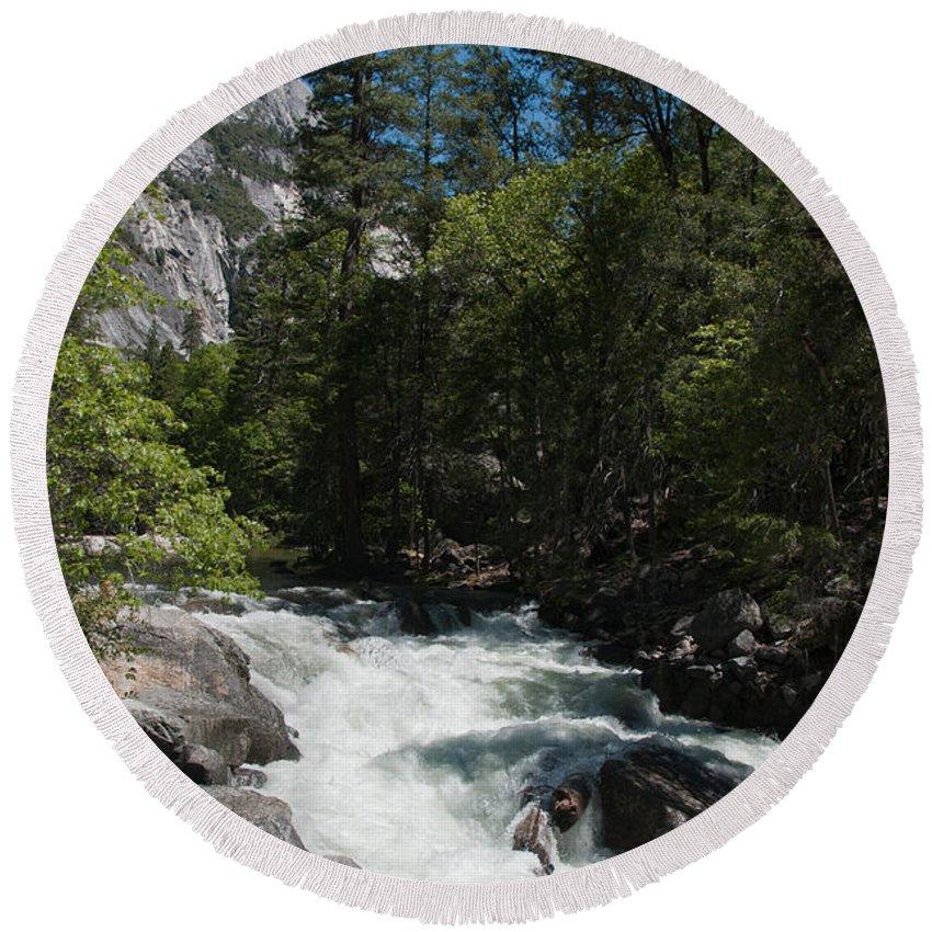 California Round Beach Towel featuring the digital art Yosemite by Carol Ailles