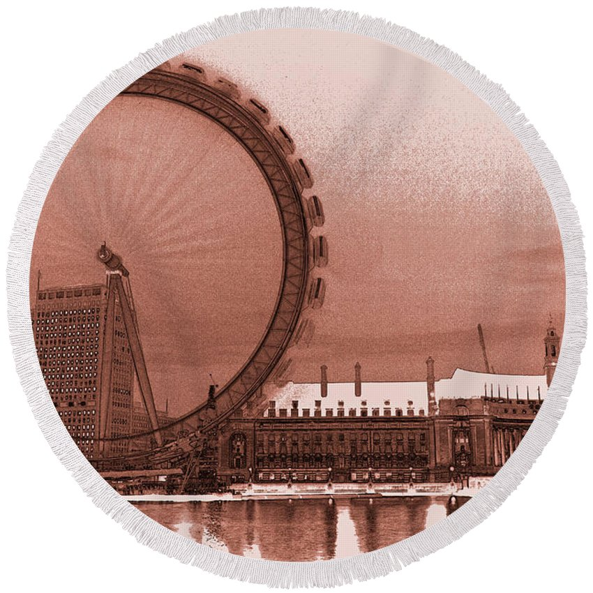 London Round Beach Towel featuring the digital art London Eye Art by David Pyatt