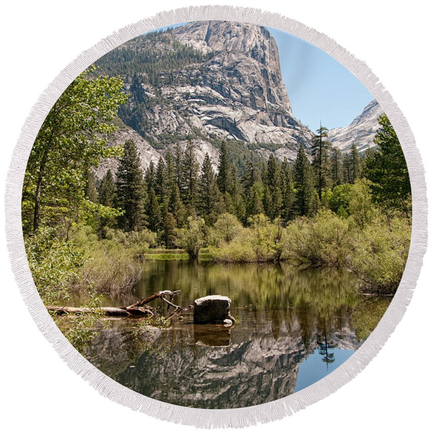 Ahwiyah Point Round Beach Towel featuring the digital art Yosemite by Carol Ailles