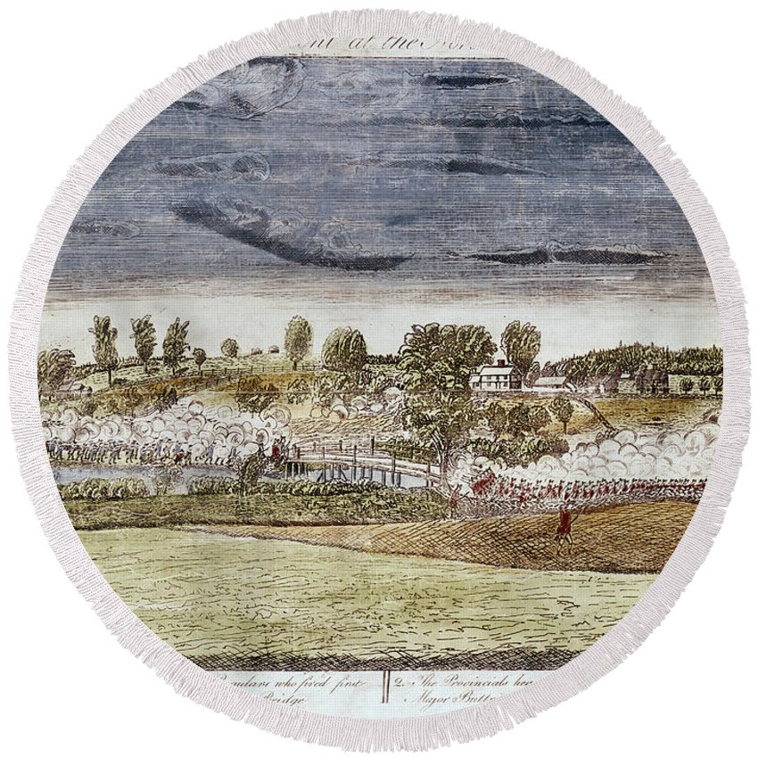 1775 Round Beach Towel featuring the photograph Battle Of Concord, 1775 by Granger