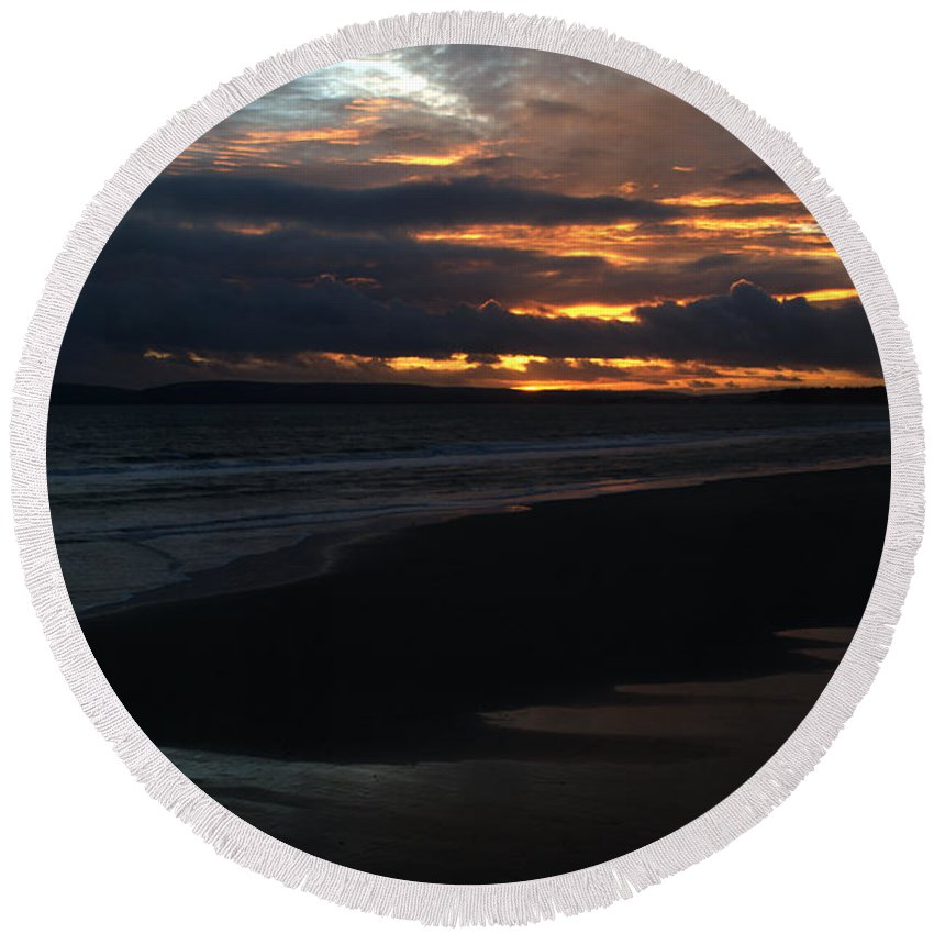 Sunset Round Beach Towel featuring the photograph Bournemouth Sunset by Chris Day