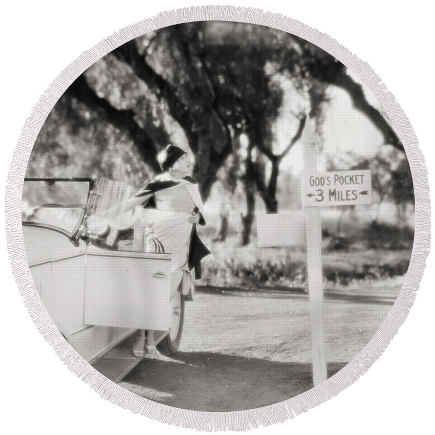-ecq- Round Beach Towel featuring the photograph Silent Film: Automobiles by Granger