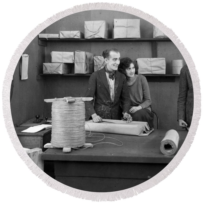 -offices- Round Beach Towel featuring the photograph Silent Film Still: Offices by Granger