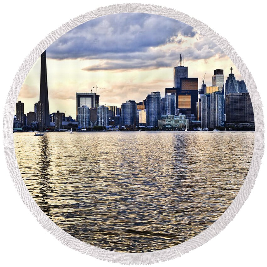 Toronto Round Beach Towel featuring the photograph Toronto Skyline by Elena Elisseeva