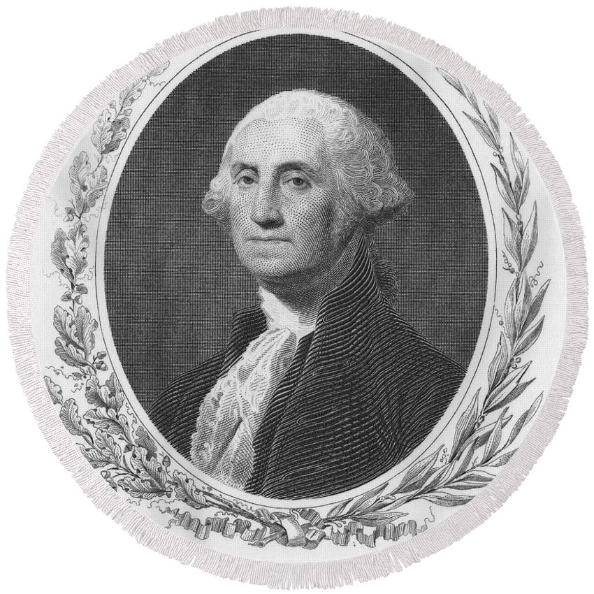 18th Century Round Beach Towel featuring the photograph George Washington by Granger