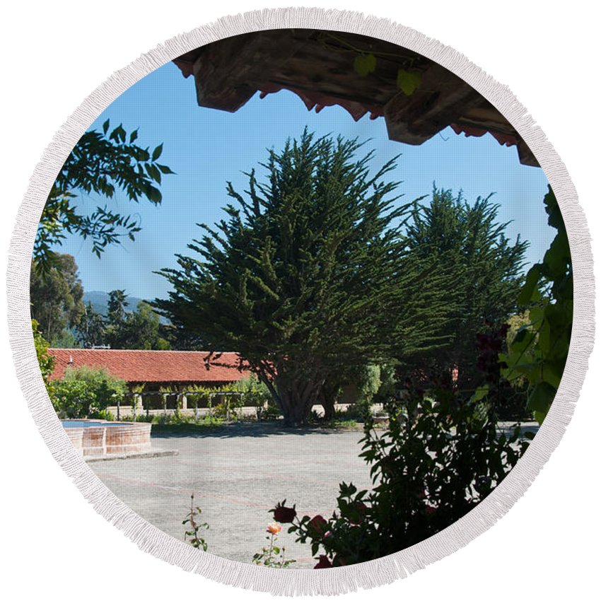Landscape Round Beach Towel featuring the digital art Gardens In Carmel Monastery by Carol Ailles
