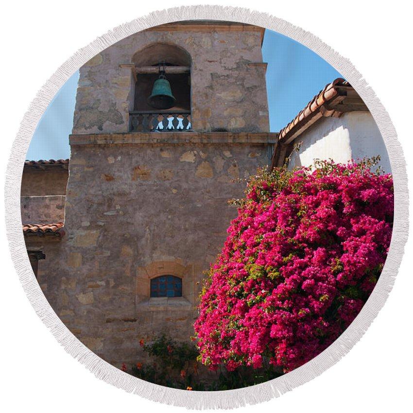 Landscape Round Beach Towel featuring the digital art Gardens In Carmel Monastery by Carol Ailles