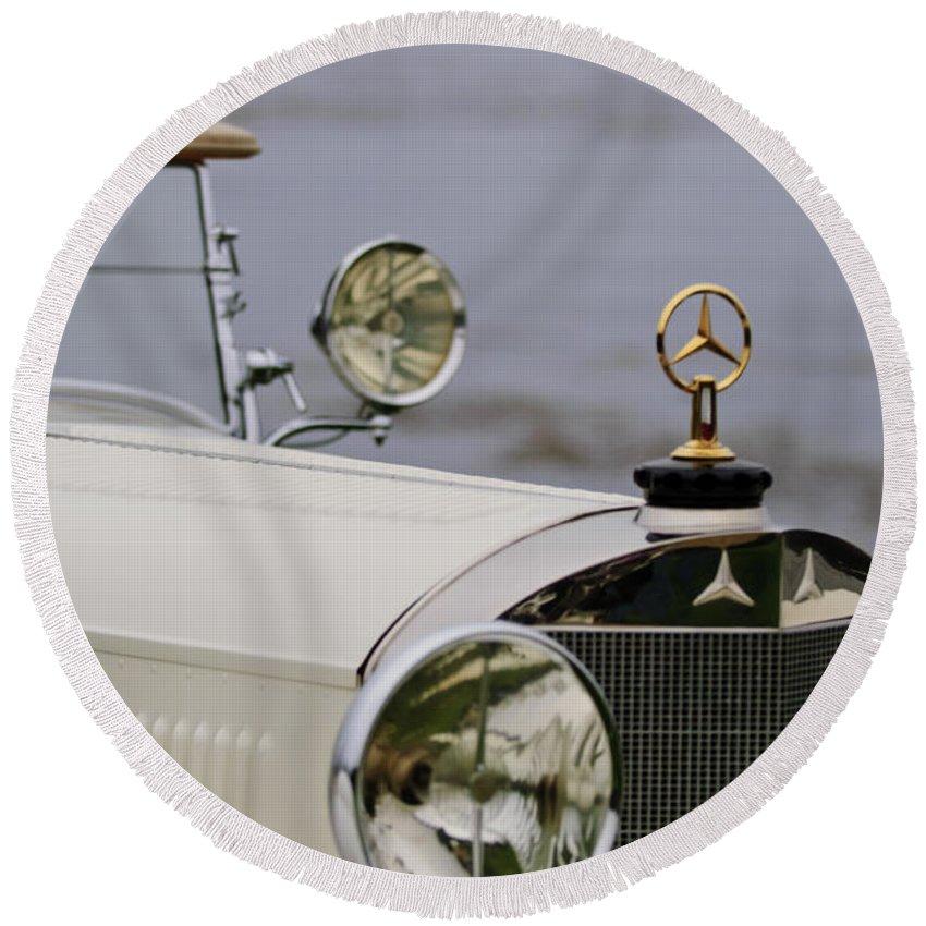 1929 Mercedes-benz S Tourer Round Beach Towel featuring the photograph 1929 Mercedes-benz S Tourer Hood Ornament by Jill Reger
