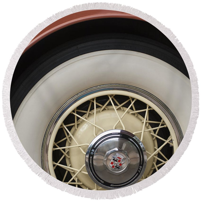 1931 Cadillac Roadster Round Beach Towel featuring the photograph 1931 Cadillac Roadster Wheel by Jill Reger