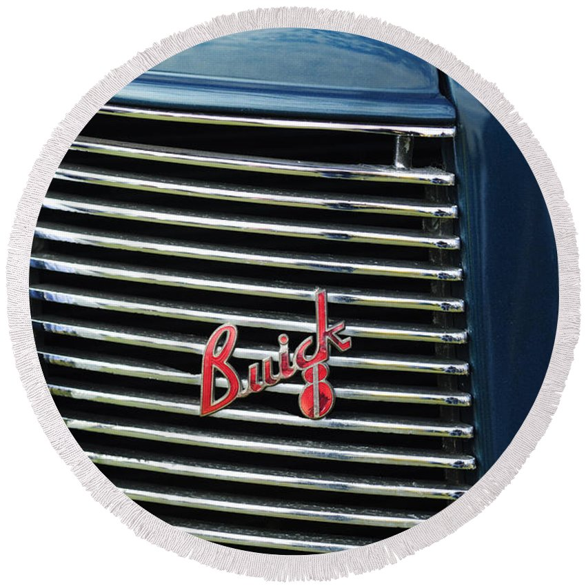 1937 Buick Round Beach Towel featuring the photograph 1937 Buick Grille Emblem by Jill Reger