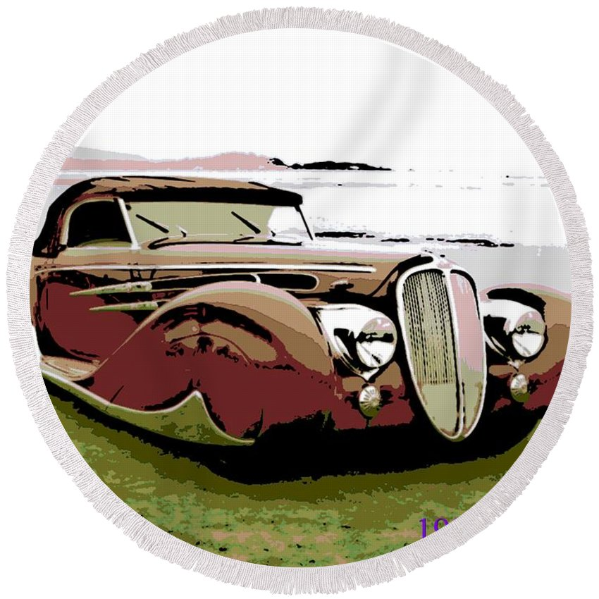 1938 Round Beach Towel featuring the photograph 1938 Delahaye Cabriolet by George Pedro