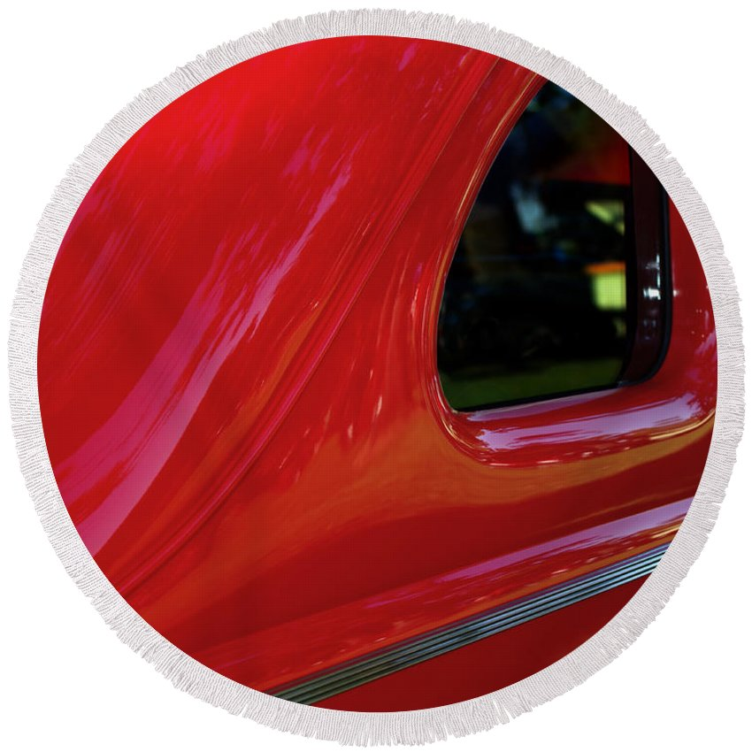 1940 Ford Coupe Side Window Round Beach Towel featuring the photograph 1940 Ford Coupe Side Window by Peter Piatt