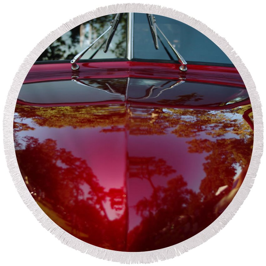1941 Ford Truck Round Beach Towel featuring the photograph 1941 Ford Truck Nose by Peter Piatt