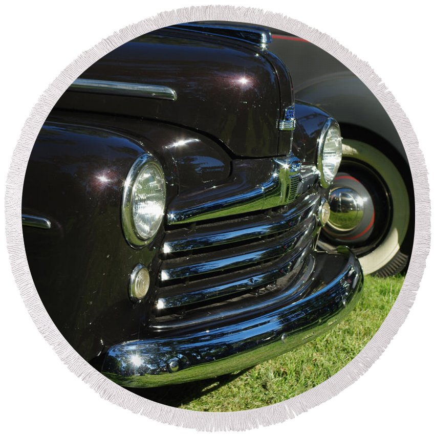 1948 Ford Super Deluxe Round Beach Towel featuring the photograph 1948 Ford Super Deluxe by Peter Piatt