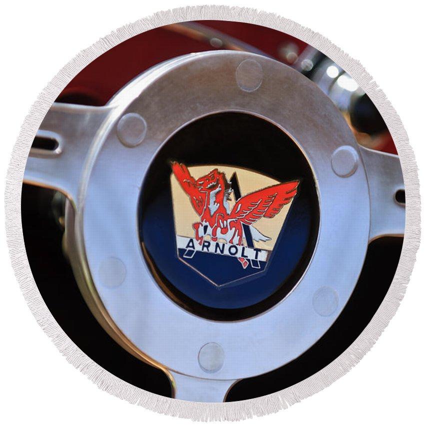 1953 Arnolt Mg Round Beach Towel featuring the photograph 1953 Arnolt Mg Steering Wheel Emblem by Jill Reger