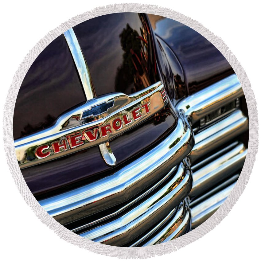 1947 Round Beach Towel featuring the photograph 1953 Chevy Pickup Grille by Gordon Dean II
