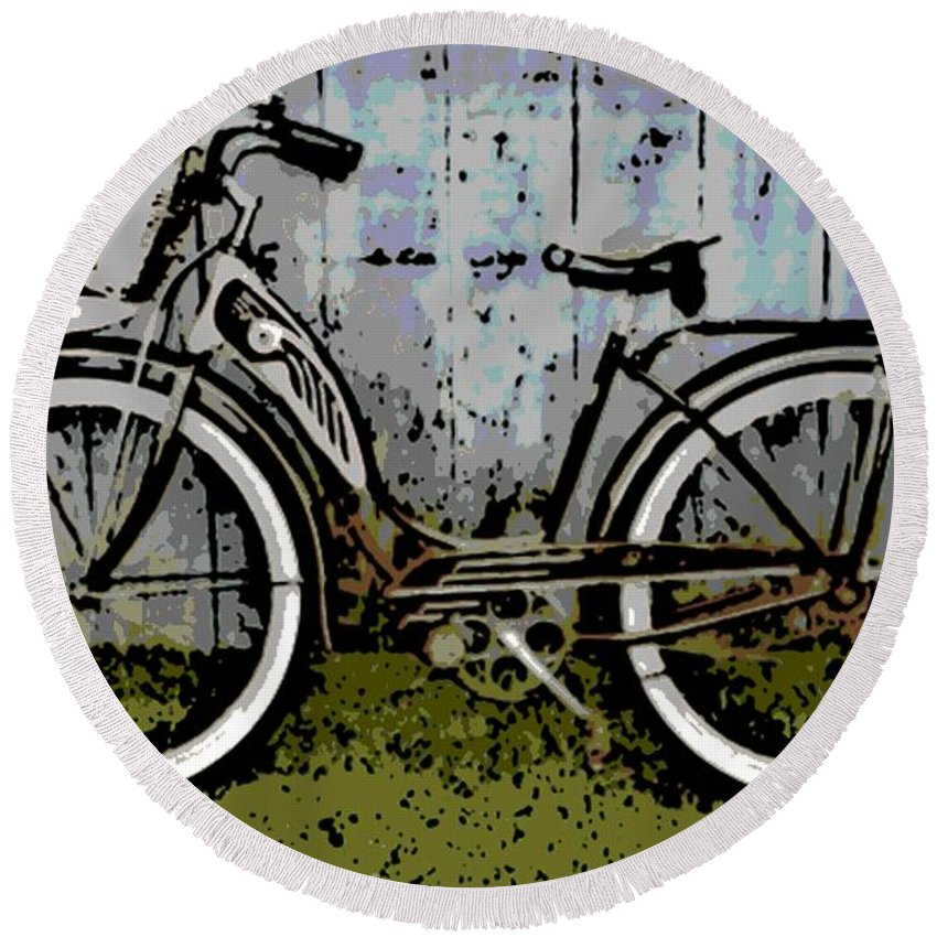 1953 Round Beach Towel featuring the photograph 1953 Schwinn Bicycle by George Pedro