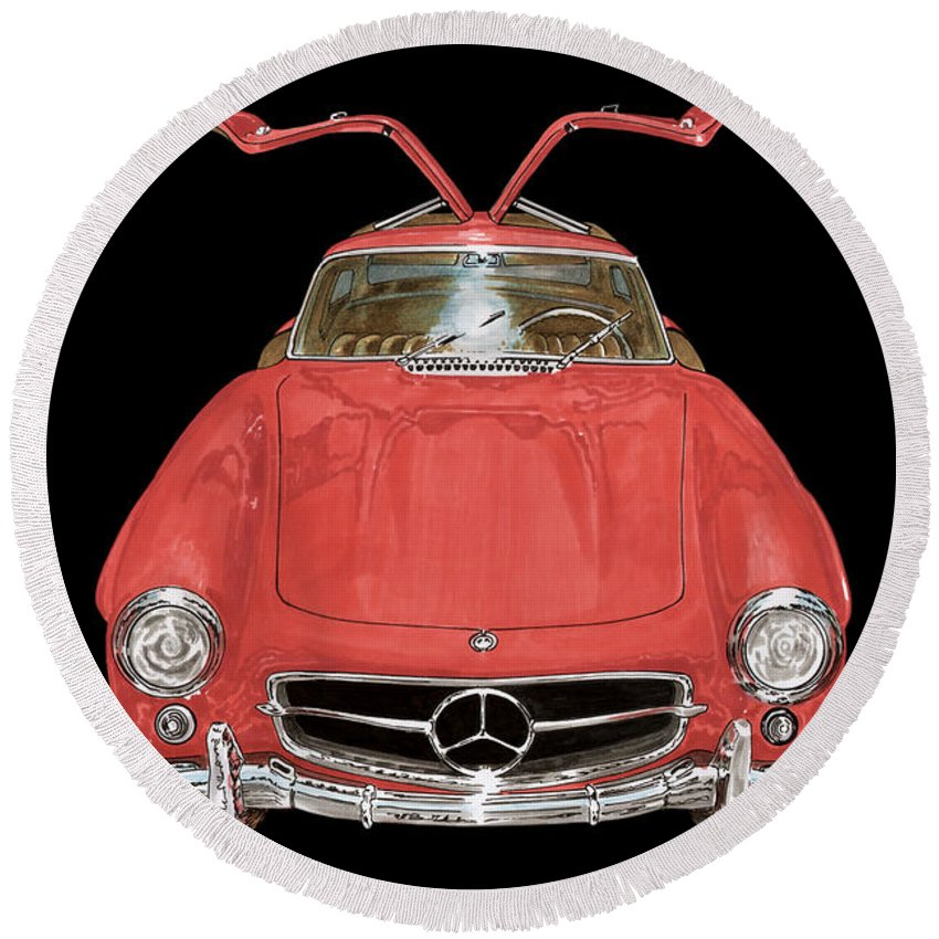 Thank You Very Much For Buying A 24.000 X 36.000 Print Of 1955 Mercedes Benz 300 S L Gull Wing To A Buyer From Redding Round Beach Towel featuring the painting 300 S L Gull Wing by Jack Pumphrey