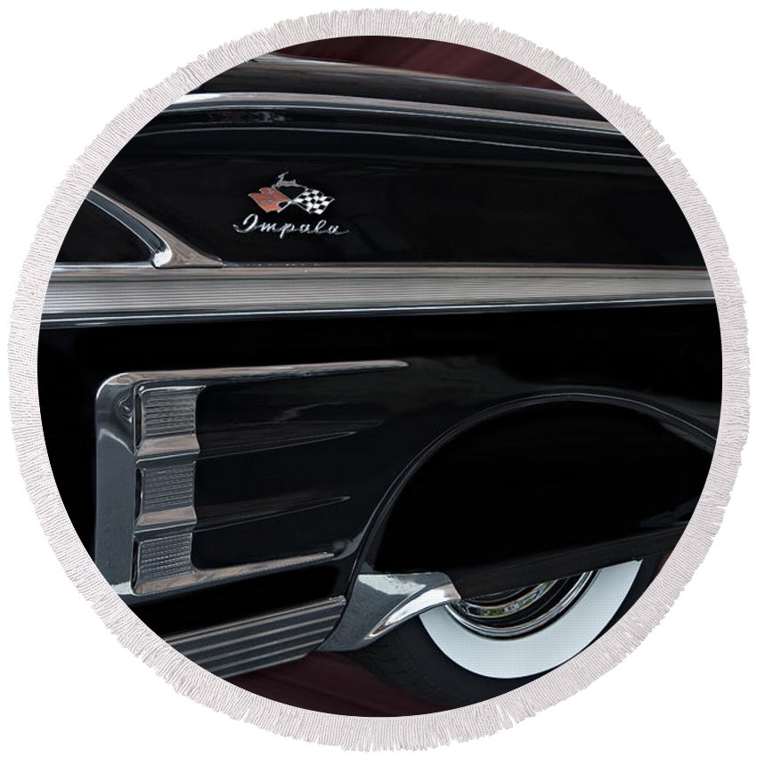 1958 Round Beach Towel featuring the photograph 1958 Impala by Susan Candelario