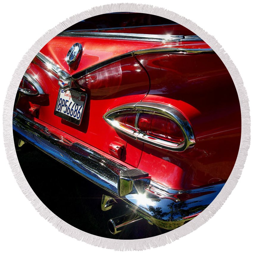 1959 Chevy El Camino Taillight Round Beach Towel featuring the photograph 1959 Chevy El Camino by Peter Piatt