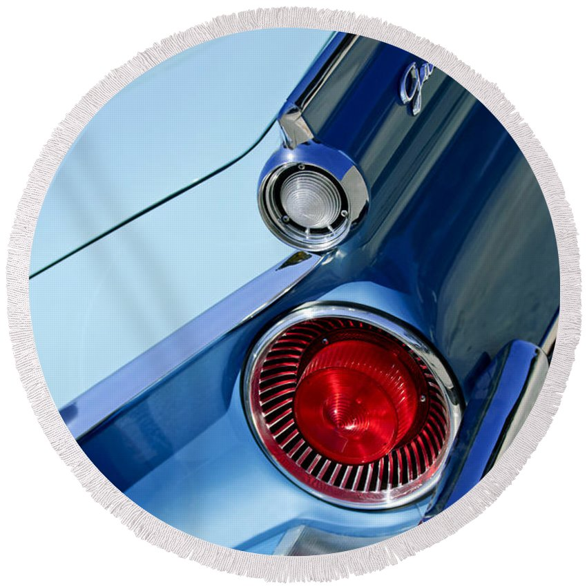 1959 Ford Skyliner Convertible Round Beach Towel featuring the photograph 1959 Ford Skyliner Convertible Taillight by Jill Reger