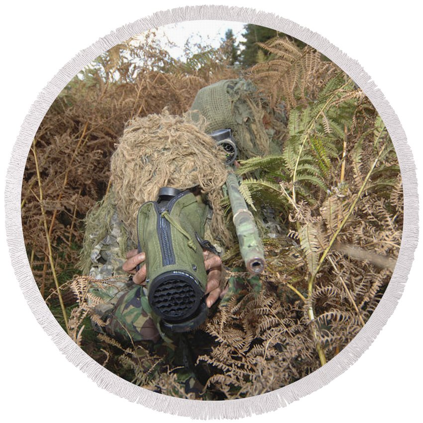 Yowie Suit Round Beach Towel featuring the photograph A British Army Sniper Team Dressed by Andrew Chittock