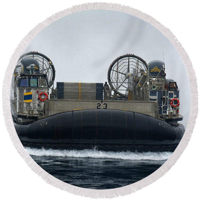 Lcac Round Beach Towel featuring the photograph A Landing Craft Air Cushion Approaches by Stocktrek Images
